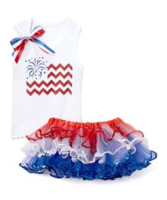 Look what I found on #zulily! White Chevron Flag Tank & Pettiskirt - Infant, Toddler & Girls by So Girly & Twirly #zulilyfinds