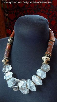 Rough cut chunky quARTz nugget tribal art by MorningDoveDesign, $190.00