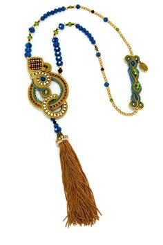 * as seen in Industry magazine, USAtrendy tassel necklace with Swarovski crystal trims, Swarovski cupchains, crystal beads, glass & miyuki beads* necklace size 56 cm* center element 20 cm (including tassel)* 2 button clasp Soutache Pendant, Soutache Necklace, Tassel Necklace, Blue Earrings, Bridal Earrings, Swarovski Crystal Beads, Necklace Sizes, Handmade Necklaces, Shibori