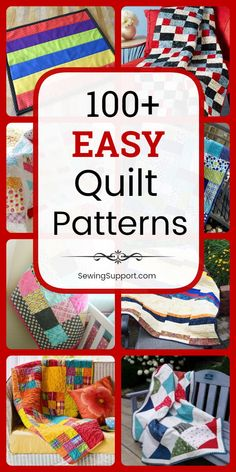 Start making your first quilt today with this collection of over 100 free and easy quilt patterns for beginners. Sew quilt designs using fat quarters, jelly roll strips, squares, and more. Get ideas for both tradtional and modern quilts. Beginner Quilt Patterns, Quilting For Beginners, Quilt Patterns Free, Quilting Tips, Quilting Tutorials, Quilting Designs, Fat Quarter Quilt Patterns, Afghan Patterns, Knitting Patterns