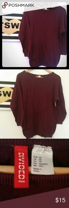 H & M PLUM SWEATER SO SOFT AND CUDDLY XS RUNS BIG H & M PLUM SWEATER SO SOFT AND CUDDLY XS, but runs bigger, it's great for those cold beachy nights... some fading from being pre-loved,  in good condition,  sold as is H&M Sweaters Crew & Scoop Necks