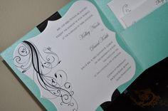 Wedding Invitations Blue and White Custom Handmade by PunkyPosh, $5.00