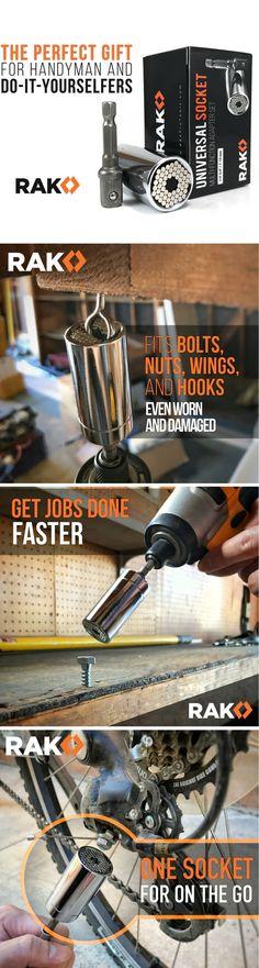 RAK Universal Socket Grip (7-19mm) Multi-Function Ratchet Wrench Power Drill Adapter 2Pc Set (Silver) - Best Unique Tool and Christmas Gift for DIY Handyman, Father/Dad, Husband, Boyfriend, Men, Women Gator Grip