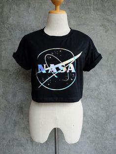 NASA Shirt  NASA Holographic Black T-Shirt Women Crop by KillDolls