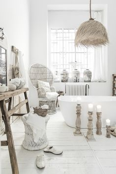 White, ethnic, rustic bathroom perfection. Styled and shot by Paulina Arcklin for Alabaster Trader.