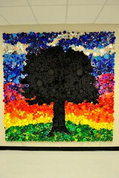 art actually: bottle cap mural. This would be sooo neat in our school.. hmmm
