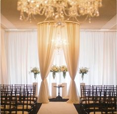 Glamorous indoor ceremony backdrop