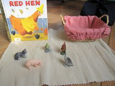 """Little red hen - Children choose the """"Little Red Hen"""" basket off of the shelf and tell the story to themselves or a friend. Language Activities, Book Activities, Little Red Hen Story, Story Sack, Farm Unit, Traditional Tales, Book Baskets, Montessori Practical Life, Creative Curriculum"""
