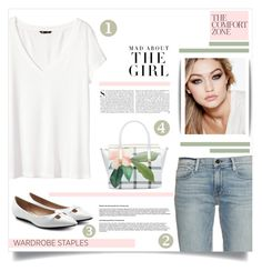 """""""White T-Shirt"""" by tawnee-tnt ❤ liked on Polyvore featuring H&M, Ted Baker, Marc Jacobs, Frame Denim, Maybelline, Kershaw and WardrobeStaple"""