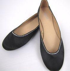 6b902d657e9d78 ESNY Totes Isotoner Satin Ballerina Bridal Shoes w  Rhinestones Black