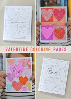 Free printable coloring pages - valentines cards to diy and craft - small. Valentines Day Activities, Valentine Day Crafts, Love Valentines, Holiday Crafts, Homemade Valentines, Valentine Wreath, Valentine Ideas, Printable Valentines Coloring Pages, Valentines Day Coloring Page