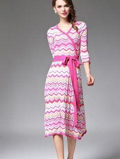 Beautiful Temperament V-Neck 3/4 Sleeve Corset Slim Maxi Dresses