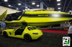 Fluorescent yellow-green boat wrap with matching car