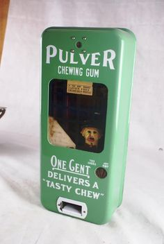 GREEN PORCELAIN PULVER COP AND ROBBER GUM MACHINE WORKS ON A PENNY CENT GUM | eBay
