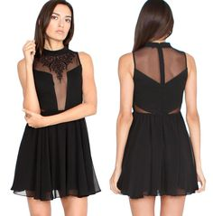It's all in the details and this dress is all about the details. Sexy mesh detailed flowing fit and flare black dress. 100% Polyester $75