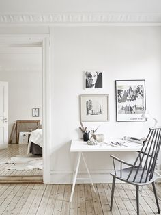 Scandinavian Home Design Ideas – choose white and grey Home Office Inspiration, Workspace Inspiration, Decoration Inspiration, Interior Inspiration, Room Inspiration, Office Ideas, Decor Ideas, Scandinavian Interior Design, Scandinavian Home