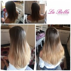 "Still Love an Ombré 💕 16"" 120 hand made La Bella Nano Tips £315 #ombre #hblogger #hair #longhairdontcare #nanorings #hairextensions #hairblog #blonde #balayageombre #balayageextensions #ombreextensions #hairextensionskent #hairextensionsessex #hairextensionslondon #hairextensionssurrey #labellahairextensions"