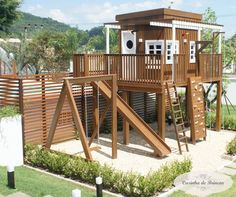 playhouse – Clube Aventura I … – All For Garden Kids Backyard Playground, Backyard Playhouse, Fire Pit Backyard, Backyard For Kids, Cubby Houses, Play Houses, Kids Outdoor Play Equipment, Outdoor Spaces, Outdoor Living