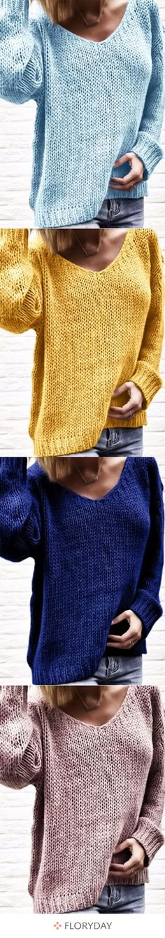Loose, long-sleeved V-neck pullover - Damenmode Summer Outfits For Teens, Teenage Outfits, Knit Baby Shoes, Baby Booties, Debbie Macomber, Knit Jacket, Love At First Sight, Lady, Streetwear