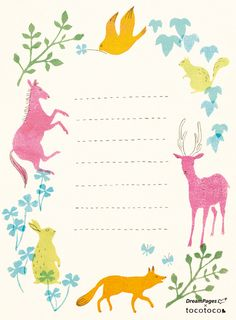 free printable charming animal note sheets http://www.creaturecomfortsblog.com/home/2011/3/24/free-download-charming-animal-note-sheets.html
