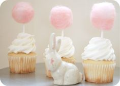 cotton candy cupcake toppers via Potter + Butler