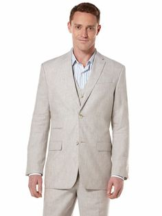 Style up your summer events with this Perry Ellis linen blend 3 piece suit.