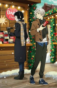 """""""the anime: they absolutely despise each other the official art:"""" Stray Dogs Anime, Bongou Stray Dogs, Anime Manga, Anime Art, Naruto, Dog Boarding, Christmas Dog, Xmas, Anime Characters"""