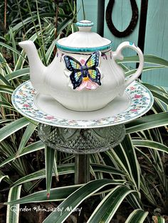 Butterfly Teapot Garden Totem Stake / by GardenWhimsiesByMary