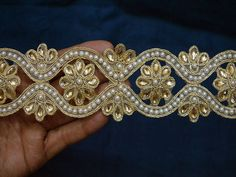 Indian Laces Saree Border Ribbon and Beaded Trims Dull Gold Kundan Lace Stone Work Border Glass Bead Work Embellishment Trim by the Yard Indian Laces and Trims Decorative Trims Crafting Sewing A perfect embellishment. Beaded Mirror, Lace Saree, Motifs Perler, Saree Border, Beads Online, Sewing Trim, Jewellery Making Materials, Jewelry Making, Decorative Trim