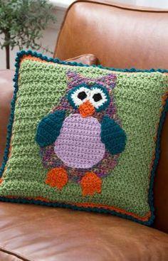 Whimsical Owl Pillow. ☀CQ #crochet #owls   http://www.pinterest.com/CoronaQueen/crochet-owls-corona/