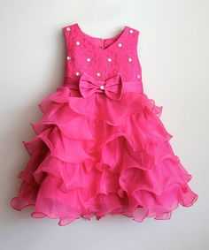 Look at this #zulilyfind! Hot Pink Floral Ruffle Dress - Toddler & Girls by Designs by Meghna #zulilyfinds