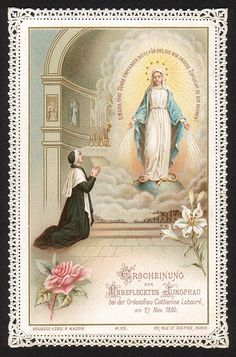 Novena in Honor of Our Lady of the Miraculous Medal Catholic Art, Catholic Saints, Religious Art, Blessed Mother Mary, Blessed Virgin Mary, Saint Philomena, Daughters Of Charity, Vintage Holy Cards, Hail Holy Queen