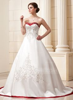 Wedding Dresses - $235.99 - Ball-Gown Sweetheart Chapel Train Satin Wedding Dress With Embroidered Sash Beading Sequins (002004606) http://jjshouse.com/Ball-Gown-Sweetheart-Chapel-Train-Satin-Wedding-Dress-With-Embroidered-Sash-Beading-Sequins-002004606-g4606