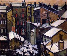 'toits de Bordeaux dans la neige', huile sur toile de Andre Lhote (1885-1962, France)