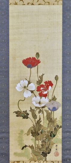 芥子図 Poppies. 鈴木其一 Suzuki Kiitsu (Japanese, 1796–1858). Edo period. mid-19th century. Japanese hanging scroll. Rinpa School. The Metropolitan Museum of Art.