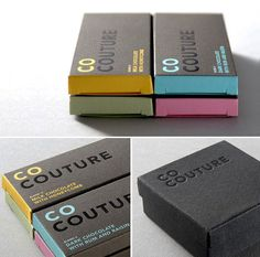 Chocolate packaging - spot varnashing really helps to emphasis the black on black and makes it readable. I really like the sleek and modernistic design and again the differentiating colours.