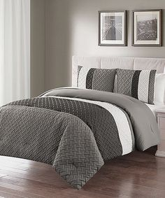 This Gray Edgemont Embossed Comforter Set is perfect! #zulilyfinds