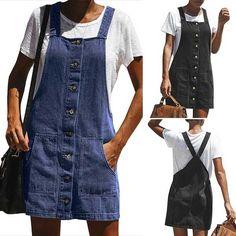 Best 9 Style: FashionColor: Blue,BlackMaterial: DenimSize:S/M/L/XLS : Waist : 89cm(35.04 – SkillOfKing.Com Denim Overalls, Denim Jeans, Leather Apron, Sewing Stitches, Denim Fashion, Single Breasted, Black Cotton, Blue Jeans, Couture