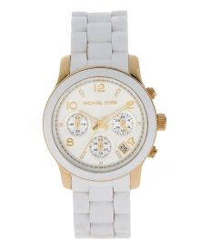 Women's Runway Chronograph White and Yellow Goldtone Watch - Online Exclusive
