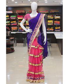 Patli pallu designer saree in blue georgette and pink net