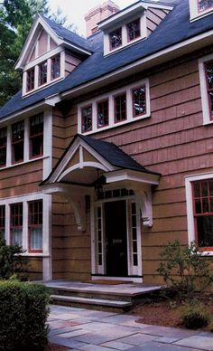 Architects' Favorite Architectural Elements : Design New Jersey Garage Exterior, Exterior Doors, Entrance Design, House Entrance, Front Stoop, Front Entry, Front Stairs, Front Porch Addition, Door Overhang