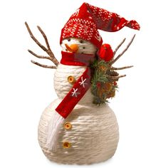 Features:  -Handcrafted.  -Fabric yarn wrapped around lightweight foam inner core.  -Fabric hat and scarf.  Quantity: -Individual Item.  Product Type: -Stuffed Holiday Accents.  Theme: -Snowmen.  Holi