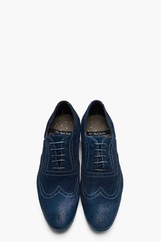 PS PAUL SMITH Navy Dip Dyed Suede Distressed Wingtip Miller Brogues