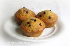 Muffins de plátano con chips de chocolate (sin gluten)