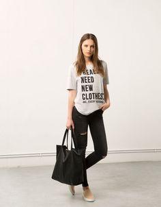 Bershka text print top - T- Shirts - Bershka Turkey