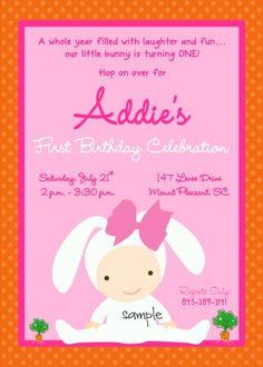 Baby Girl Bunny Birthday Party Invitation