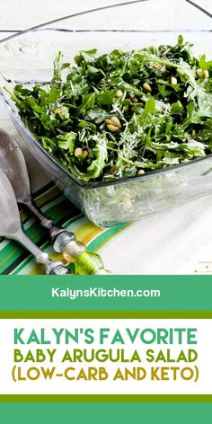 For arugula lovers like me, this Baby Arugula Salad with Lemon, Balsamic Vinegar, Parmesan, and Pine Nuts is always a treat! [found on KalynsKitchen.com] #ArugulaSalad #BabyArugulaSalad #ArugulaPineNutSalad #BabyArugulawithParmesan