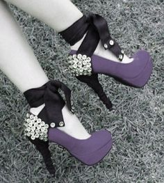 Purple pumps with black strap and bling