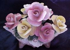 """Nuova Capodimonte """"Savastino"""" Collection Roses in Gray-Brown Vase, from howstrange on Ruby Lane Antique China Dishes, Victorian Decor, All Things Purple, Ruby Lane, Bone China, Brown And Grey, Diaries, Vases, Flora"""
