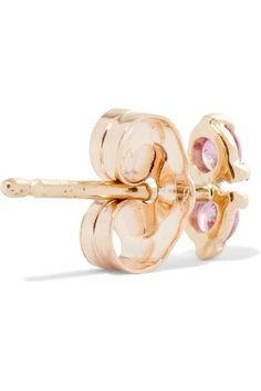 Wwake - Two Step 14-karat Gold Sapphire Earrings - one size